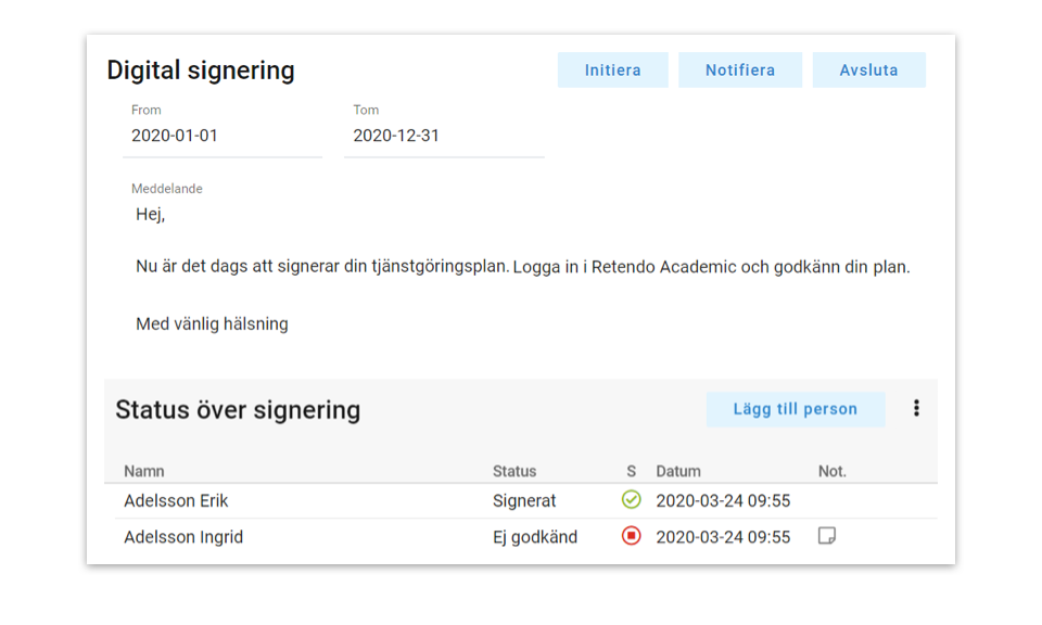 Retendo Academic – Funktioner – Digital signering