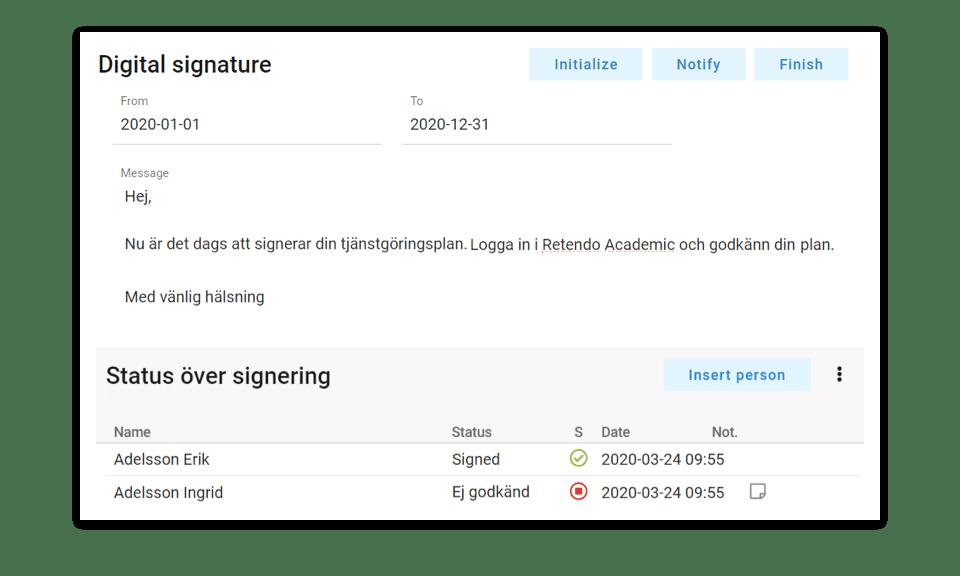 Retendo Academic Feature - Workforce Planning System - Digital signature